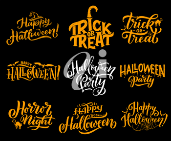 Happy Halloween lettering calligraphy for greeting cards design. Vector Halloween trick and treat party or horror night celebration of pumpkin in witch hat, cat or bat and spider in web