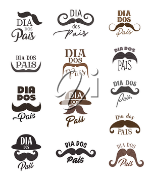 Fathers Day vector icons of Dad holiday with mustaches, retro hats and Portuguese lettering quotes Dia dos Pais. Hipsters moustaches, bowlers and Fathers Day hand drawn font, greeting card design
