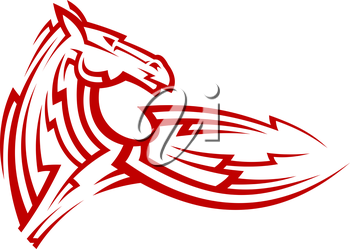 Red tribal mustang horse for mascot, tattoo or equestrian sports design