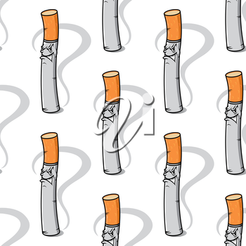Seamless background pattern of an evil little cigarette with a nasty smile and smoke wafting from the tip in square format, cartoon vector illustration isolated on white