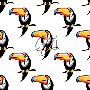 Seamless background pattern of a toucan with a big colorful bill perched on a branch, repeat motif in square format