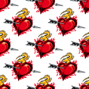 Burning fiery heart pierced by the arrow of love seamless background pattern for Valentines celebrations