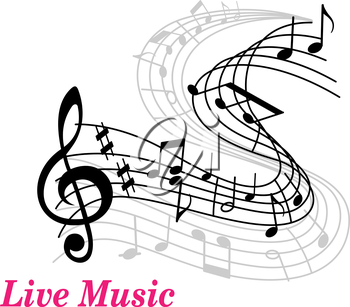 Live Music poster template with a clef, staff and music notes curling into the distance and text Live Music in pink with copyspace