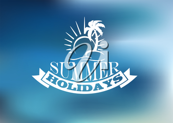 Summer Holidays poster design with a sun, palm, banner, text and ribbon banner for travel and tourism design