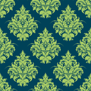 Green and blue damask style seamless pattern with a large floral motif in square format suitable for textile and wallpaper