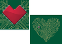 Computer motherboard with heart chip and shape for love concept design
