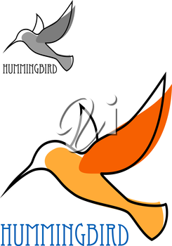 Abstract outline sketch of flying hummingbird with orange plumage and blue caption Hummingbird above them smaller duplicate in gray tones for logo or emblem design