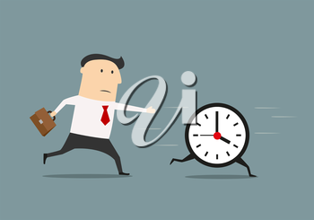 Businessman chasing a running clock in a concept of pursuing a deadline or time management, flat style