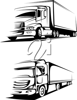 Container trucks in silhouette style for transportation and cargo industry design