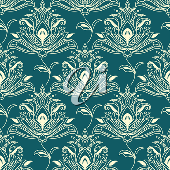 Vintage floral seamless pattern with indian styled ornament of beige lush paisley flowers on green background for greeting card or invitation design