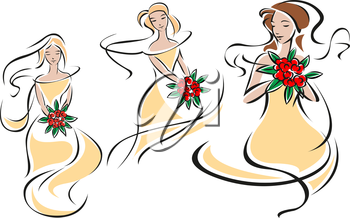 Silhouettes of pretty brides or bridesmaids in elegant beige wedding gowns with bouquets of bright red roses in hands for invitation or wedding ceremony  design
