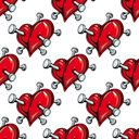 Cartoon red hearts pierced by nails seamless pattern on white background for love or broken heart concept design
