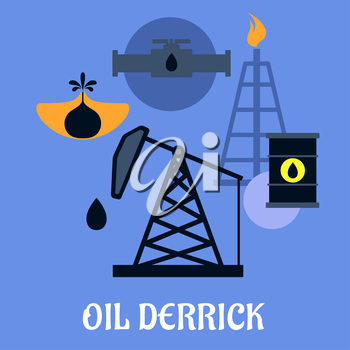 Oil Derrick and mining concept with a flat icons of mine head, pipeline refinery and barrels of crude