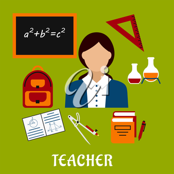 Teacher profession concept design with woman encircled by blackboard with chalk formula, books, pen, laboratory flasks, school bag, exercise book with geometric figures, triangle ruler. Flat style