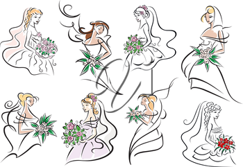 Pretty brides and bridesmaids in white dresses with elegant hairstyles, colorful bouquets in hands. For wedding or marriage ceremony design
