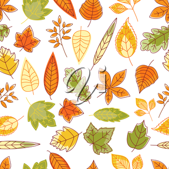 Seamless pattern with outline abstract red, orange, yellow and green autumn leaves