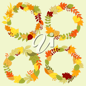 Forest leaves wreaths and frames with autumn fall leaves and bush twigs, adorned by red and orange seed bunches