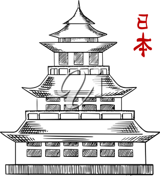 Traditional japanese pagoda tower with curved roof eaves and balconies, isolated on white background. Sketch style