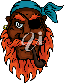 Red bearded old pirate with eye patch, blue bandana and gold earring smoking a pipe. Piracy, tattoo or t-shirt print design usage