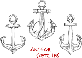 Nautical heraldic sketch icons of vintage decorative marine anchors. May be use as navy emblem or tattoo design