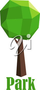 Park icon with a green tree composed of polygonal geometric pattern and shape for the foliage and trunk over the text Park below