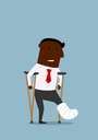 African american businessman standing with crutches and showing cast on a broken leg. For health insurance or healthcare concept theme design, cartoon flat style