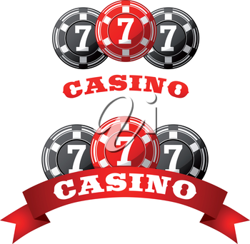 Triple lucky seven jack pot icon with gray and red gambling chips adorned by ribbon banner with text Casino