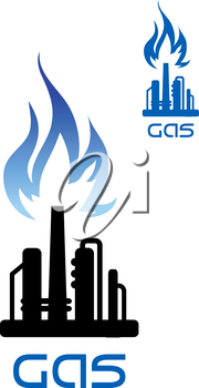 Oil refinery plant icon with blue flame of natural gas over black silhouette of pipeline and flare stack, for heavy industry theme design