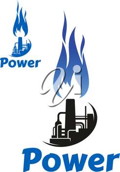 Industrial symbol or icon with oil refinery factory, storage tank, tower, chimney and high blue flame. Isolated on white background, with caption Power
