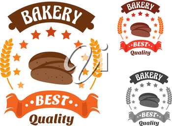 Bakery shop symbol with sliced loaf of rye bread, encircled by stars, wheat ears and ribbon banner with text Best Quality. Orange, red and gray color variations