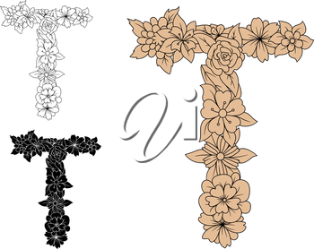 Floral alphabet letter T in uppercase font with decorative flowers in brown, colorless and black color variations