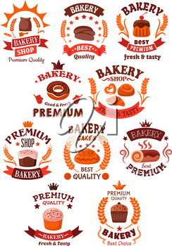 Bakery and pastry shop symbols of premium quality bread, buns, cakes, cupcakes, donut, pies.Decorated by cereal wheat ears, ribbons and banners, stars and crowns