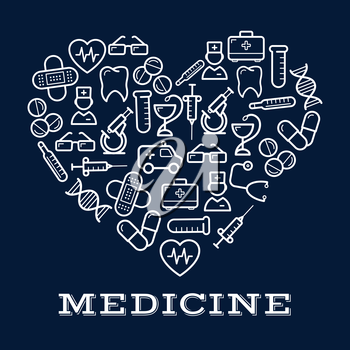 Icons of healthcare or medicine equipment in shape of heart.  Stethoscope or DNA, doctor or medic, pipette or dropper, tablet or pill, first aid kit and ambulance, adhesive bandage or plaster and syri