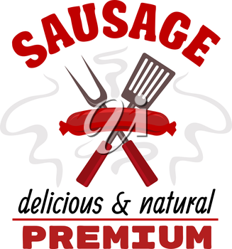 Sausage grill food label. Vector delicious hot grilled meat sausage with fork and spatula elements. Fast food barbecue emblem with text red ribbon for premium food snacks