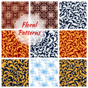 Floral patterns set. Decor seamless flourish ornate background with flowery damask and arabesque ornament. Luxury flower embellishment classic and vintage decoration tiles