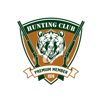 Hunting club vector isolated icon. Hunter sport club member identity symbol with wild bear grizzly, rifles, guns. Membership label shield