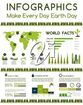 Earth Day infographics template. World environment conservation on pollution facts in world map. Deforestation, green energy and recycling concept design elements of chart graphs or percent share diag