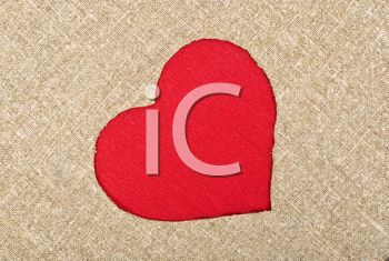 Royalty Free Photo of a Red Heart on a Burlap Sack