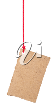 Royalty Free Photo of a Cardboard label on a Red String