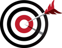 Arrow hitting target. Business concept