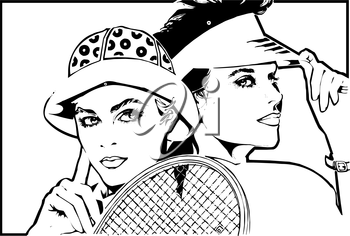 Royalty Free Clipart Image of Two Women and a Tennis Racket