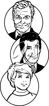 Royalty Free Clipart Image of Three Generations of Men