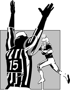 Royalty Free Clipart Image of a American Referee Calling a Touchdown