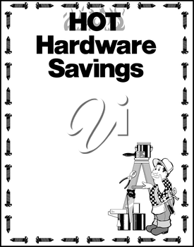 Royalty Free Clipart Image of a Hardware Saving Flyer