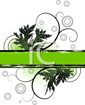 Royalty Free Clipart Image of a Leaf and Flourish Background With Space for Text