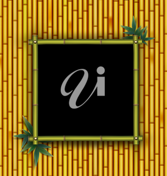 Bamboo frame on the bamboo background
