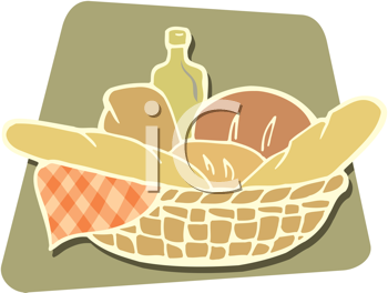 Royalty Free Clipart Image of a Basket of Bread
