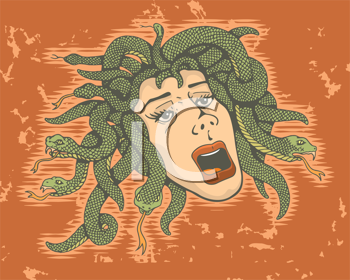 Royalty Free Clipart Image of Medusa on a Grunge Background