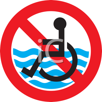 Royalty Free Clipart Image of a Sign Showing a Beach Is Not Accessible