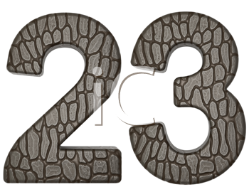 Royalty Free Clipart Image of Alligator Skin Numeral Font
